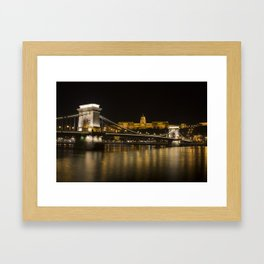Budapest Chain Bridge And Castle Framed Art Print