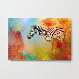 Colorful Expressions Zebra Metal Print