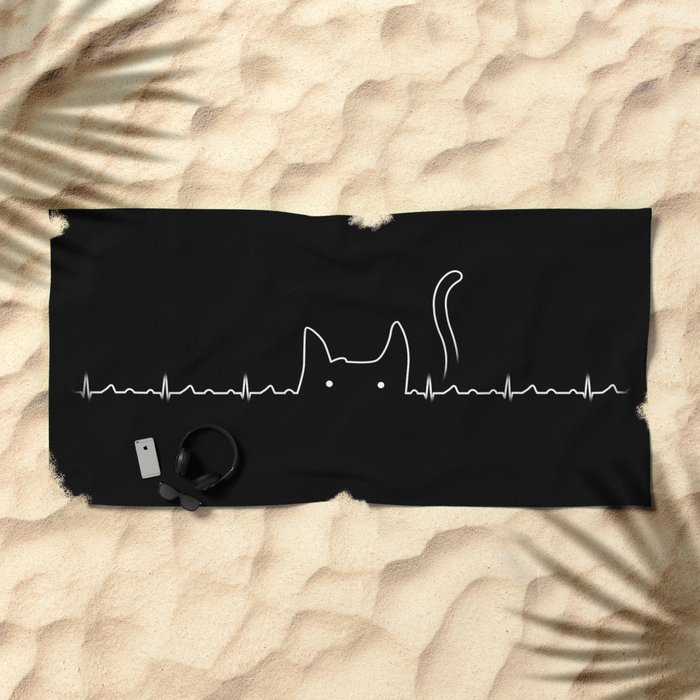 There is a cat in my heart Beach Towel