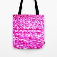glitter Tote Bags featuring Fuchsia Pink Glitter Sparkle by Whimsy Romance & Fun