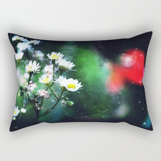 Flowers, My Heart And The Stars Rectangular Pillow
