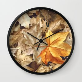 Autumn Leaves, A Realistic Watercolor Painting Wall Clock