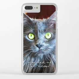 """""""You had me at 'meow'"""" quote cute, fluffy grey cat close-up photo Clear iPhone Case"""