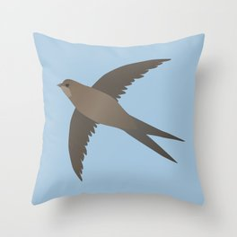Common swift flying in the air vector Throw Pillow