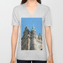 Low angle view of Town Hall in Hamburg Unisex V-Neck