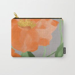 Peachy Orange Peonies on Gray Carry-All Pouch