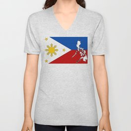 Philippines Flag with Filipino Map Unisex V-Neck