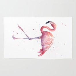 Flamingo Watercolor Pink Bird Rug