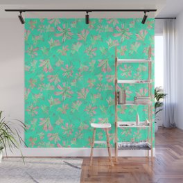 Floral lace Minty green Wall Mural