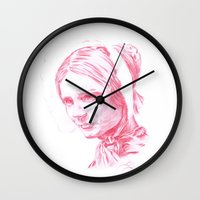 jane eyre Wall Clocks featuring Jane Eyre glowing by Jonathan Snowden