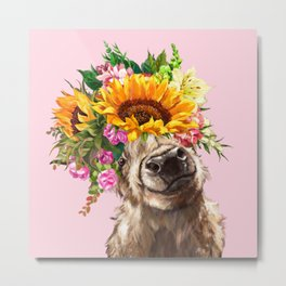 Sunfowers crown Highland Cow in Pink Metal Print