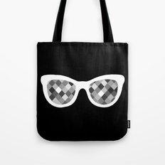 Diamond Eyes White on Black Tote Bag
