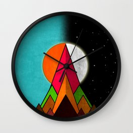 Mountain Day and Night Wall Clock