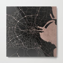 Black on Rosegold Dublin Street Map Metal Print