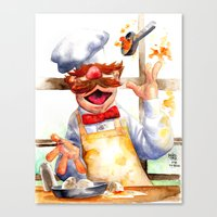 swedish Canvas Prints featuring Swedish chef by Roger Cruz