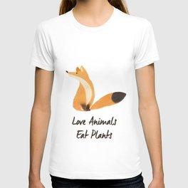 Love Animals, Eat Plants Fox Watercolour T-shirt