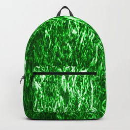 Vertical metal texture of bright highlights on green waves. Backpack