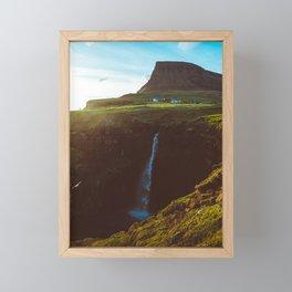Faroe Islands Waterfall  Framed Mini Art Print