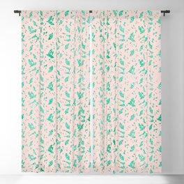 Aqua Blue Metallic Foil Animal Spots on Pink Rosebud Blackout Curtain