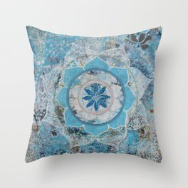 Ocean Blue Mandala Throw Pillow