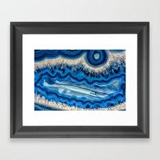 Blue agate slice wave Framed Art Print