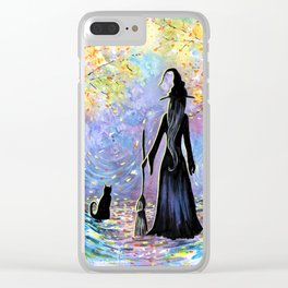 """Into the Light"" Witch & Black Cat Clear iPhone Case"