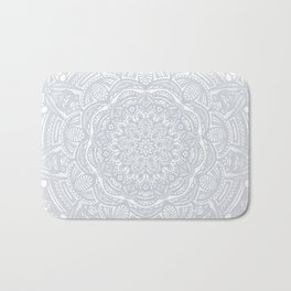 Light Gray Ethnic Eclectic Detailed Mandala Minimal Minimalistic Bath Mat