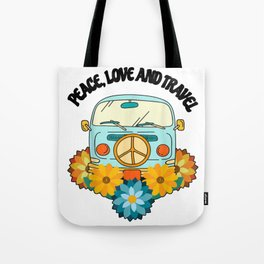 Peace love and travel with a surfer bus Tote Bag