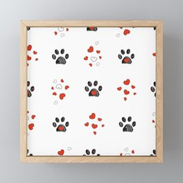 Doodle black paw prints with red heart vector seamless pattern for fabric design Framed Mini Art Print