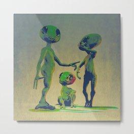 Little Green Family Portrait Metal Print