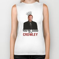 crowley Biker Tanks featuring I'm Crowley - Supernatural by KanaHyde