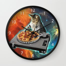 Cat dj with disc jockey's sound table Wall Clock