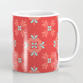 Red Background with Coral and Aqua Flower Pattern Coffee Mug