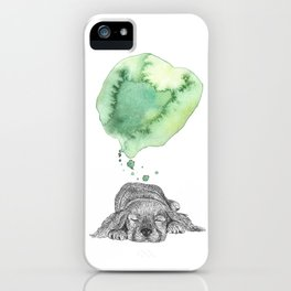 Dreaming Puppy - Green Watercolor iPhone Case
