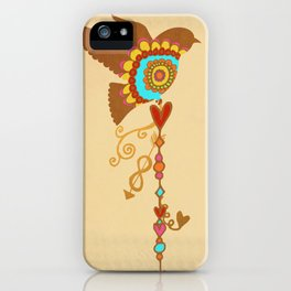 Rainbow Pride - bird with love charms on vintage cream- love is love - CELEBRATE! iPhone Case