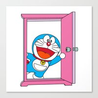 doraemon Canvas Prints featuring DORAEMON OPEN the Magic Door #4 by Timeless-Id