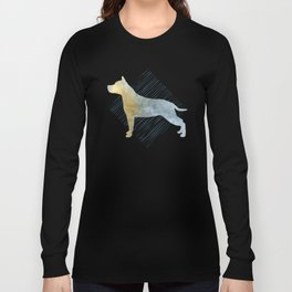 Modern American Staffordshire Terrier Dog Watercolor Stripes Long Sleeve T-shirt