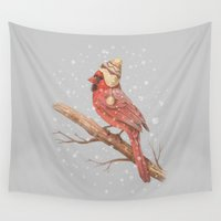 snow Wall Tapestries featuring First Snow - colour option by Terry Fan
