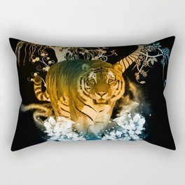 Beautiful tiger with flowers Rectangular Pillow