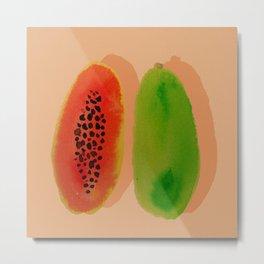Papaya watercolor Metal Print