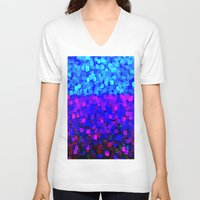sparkles V-neck T-shirts featuring Sparkles Glitter Blue by Saundra Myles