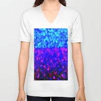 sparkles V-neck T-shirts featuring Sparkles Glitter Blue by Saundra Myles