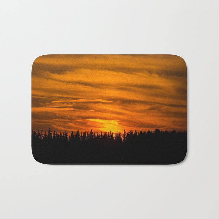 Cloudy Sunset With Forest Line - Scenic Landscape - #society6 #decor #buyart Bath Mat