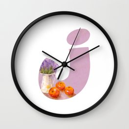 Letter J with jug drawn by pastel Wall Clock
