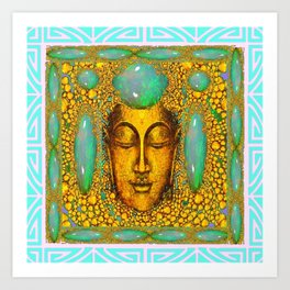 TURQUOISE ART DECO & FIRE OPALS GOLD BUDDHA ABSTRACT Art Print