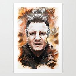 Liam Neeson Caricature Art Print
