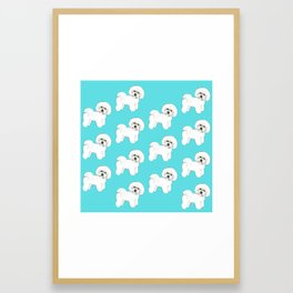 Bichon Frise on aqua / teal / cute dogs/ dog lovers gift Framed Art Print