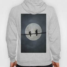 Two Crows In The Light Of A Silvery Moon Hoody