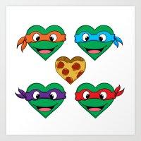 ninja turtle Art Prints featuring Ninja Turtle Hearts by Sam Skyler