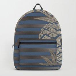 GLITTER PINEAPPLE ON BLUE GRAY STRIPES Backpack